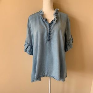 Altar'd State chambray ruffle sleeve #950